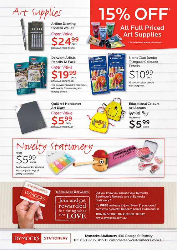 Dymocks Stationery Back to School catalogue