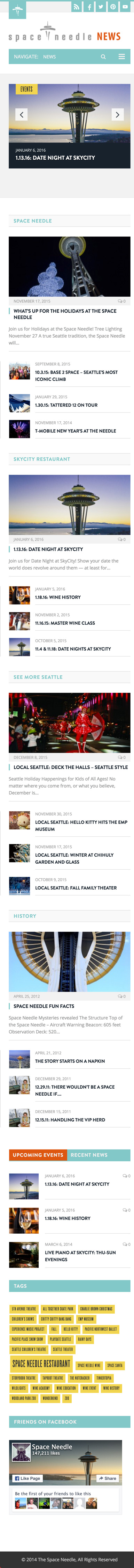 Space Needle News Home Page Mobile